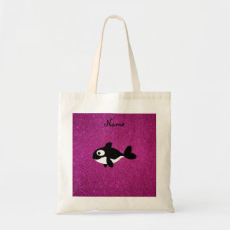 Personalized name killer whale pink glitter budget tote bag
