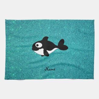 Personalized name killer whale turquoise glitter tea towel