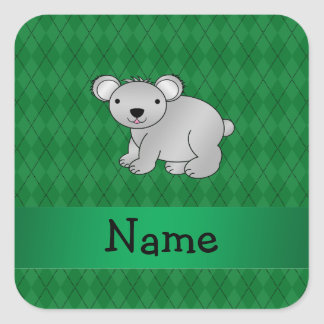 Personalized name koala bear green argyle square sticker