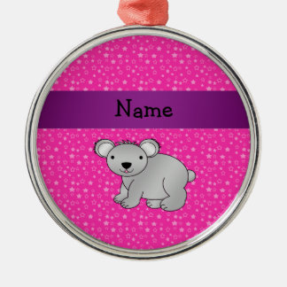 Personalized name koala bear pink stars Silver-Colored round decoration