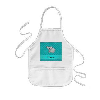 Personalized name koala bear turquoise grid aprons