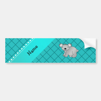 Personalized name koala bear turquoise grid bumper sticker