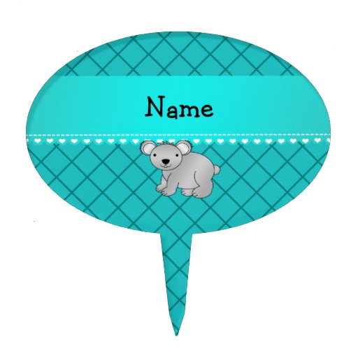 Personalized name koala bear turquoise grid cake picks