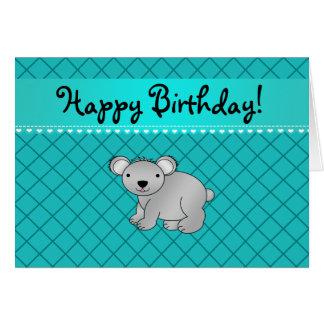 Personalized name koala bear turquoise grid greeting card