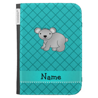 Personalized name koala bear turquoise grid cases for the kindle