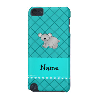Personalized name koala bear turquoise grid iPod touch (5th generation) case