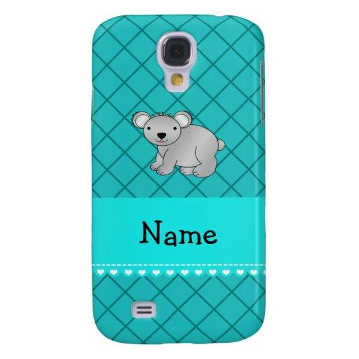 Personalized name koala bear turquoise grid HTC vivid case