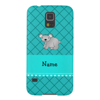 Personalized name koala bear turquoise grid galaxy s5 cases