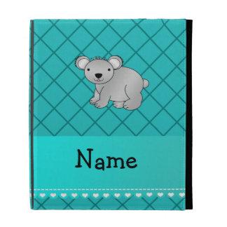 Personalized name koala bear turquoise grid iPad case