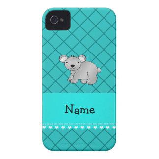 Personalized name koala bear turquoise grid blackberry bold cases