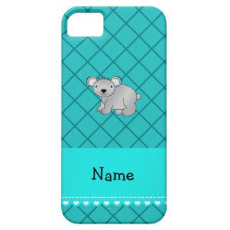 Personalized name koala bear turquoise grid iPhone 5 cover