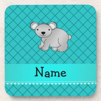 Personalized name koala bear turquoise grid drink coasters