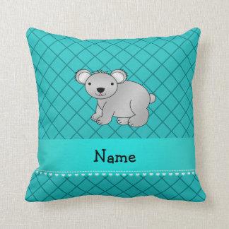 Personalized name koala bear turquoise grid throw pillow
