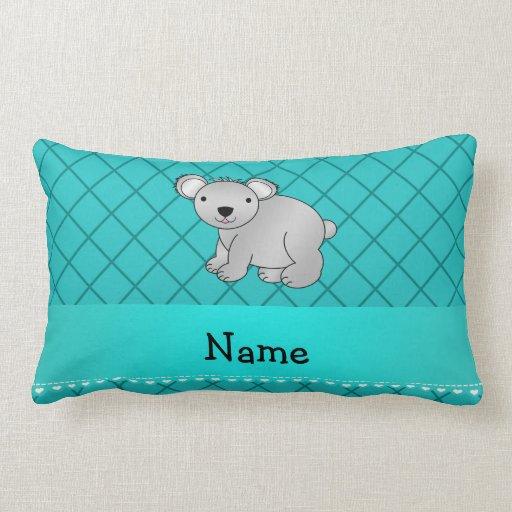Personalized name koala bear turquoise grid throw pillows