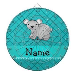 Personalized name koala bear turquoise grid dartboard