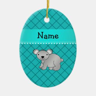 Personalized name koala bear turquoise grid ornament