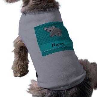 Personalized name koala bear turquoise grid pet tee shirt