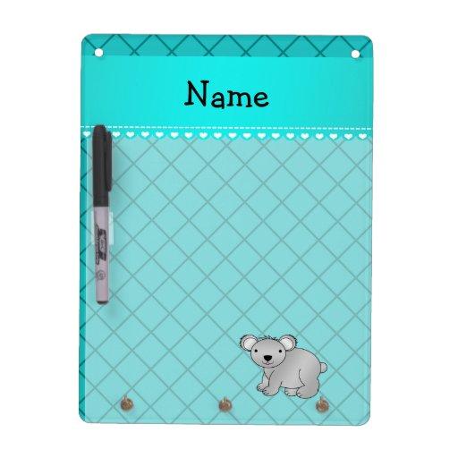 Personalized name koala bear turquoise grid dry erase whiteboards