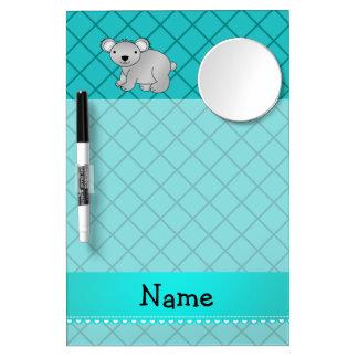 Personalized name koala bear turquoise grid Dry-Erase whiteboards