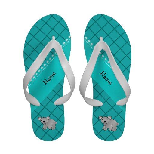 Personalized name koala bear turquoise grid sandals