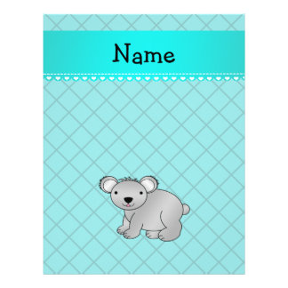 Personalized name koala bear turquoise grid full color flyer