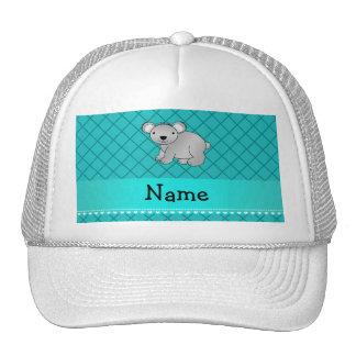 Personalized name koala bear turquoise grid mesh hats