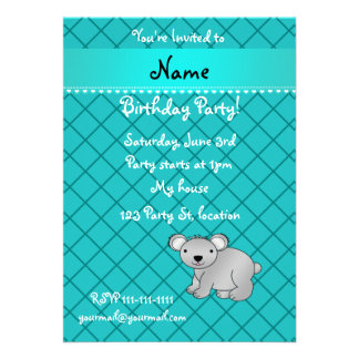 Personalized name koala bear turquoise grid personalized invitations
