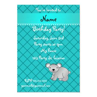 "Personalized name koala bear turquoise grid 5"" x 7"" invitation card"