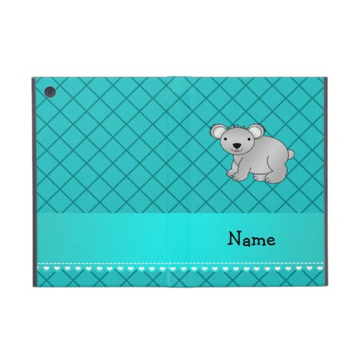 Personalized name koala bear turquoise grid iPad mini cases