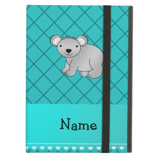 Personalized name koala bear turquoise grid iPad folio cases