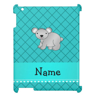 Personalized name koala bear turquoise grid case for the iPad 2 3 4