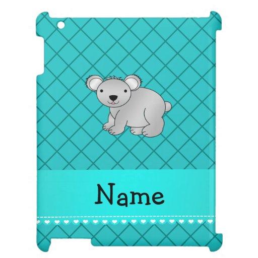 Personalized name koala bear turquoise grid case for the iPad 2 3 4