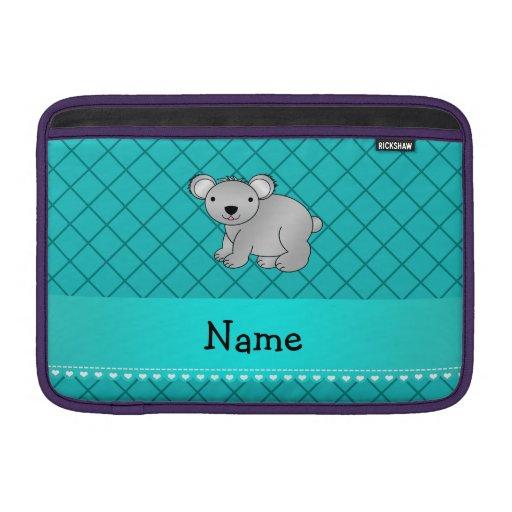 Personalized name koala bear turquoise grid MacBook sleeves