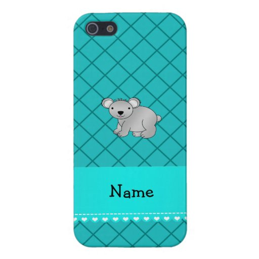 Personalized name koala bear turquoise grid iPhone 5/5S cover