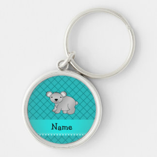 Personalized name koala bear turquoise grid key chains