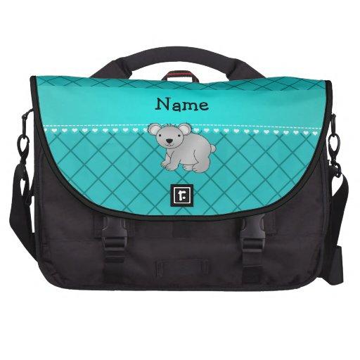 Personalized name koala bear turquoise grid commuter bag