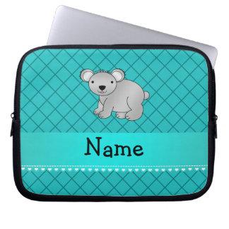 Personalized name koala bear turquoise grid laptop sleeve