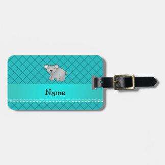 Personalized name koala bear turquoise grid travel bag tag