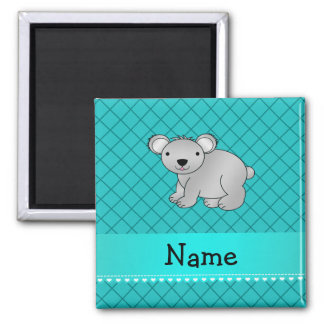 Personalized name koala bear turquoise grid fridge magnets