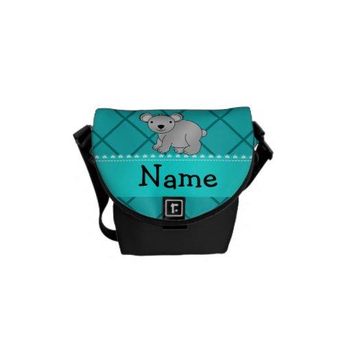 Personalized name koala bear turquoise grid messenger bag
