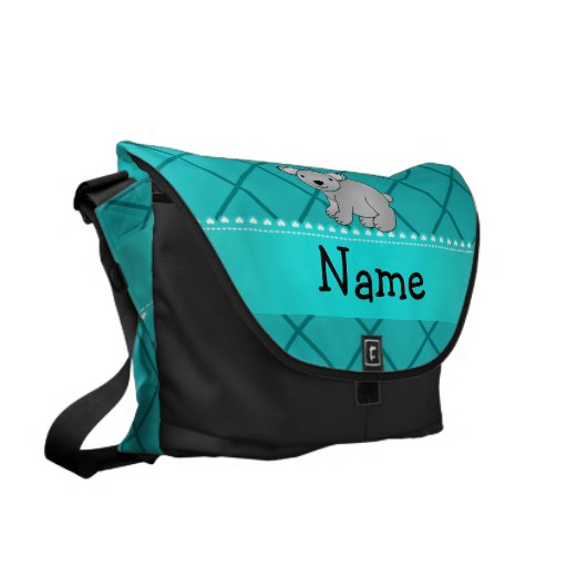 Personalized name koala bear turquoise grid courier bags