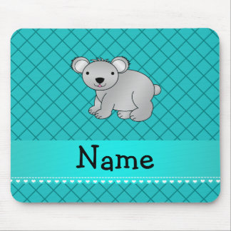 Personalized name koala bear turquoise grid mouse pads
