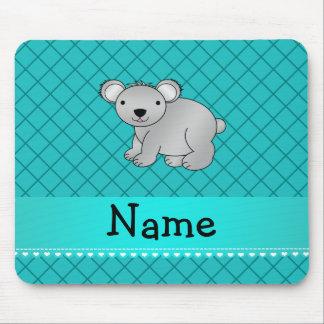 Personalized name koala bear turquoise grid mouse pads