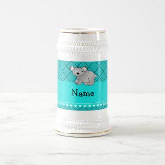 Personalized name koala bear turquoise grid mugs