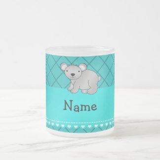 Personalized name koala bear turquoise grid coffee mug