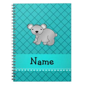 Personalized name koala bear turquoise grid notebooks