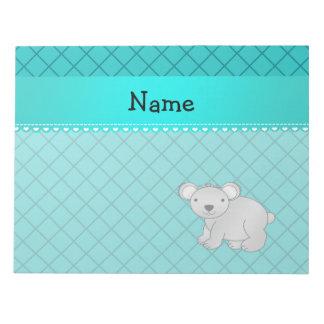Personalized name koala bear turquoise grid memo pads