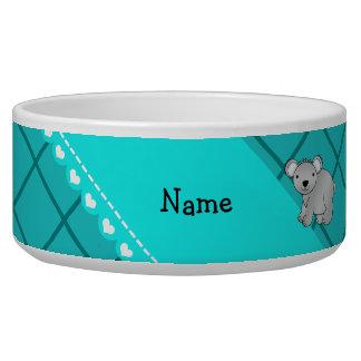 Personalized name koala bear turquoise grid pet water bowl