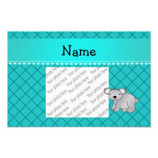 Personalized name koala bear turquoise grid photo art