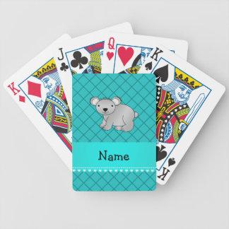 Personalized name koala bear turquoise grid poker cards